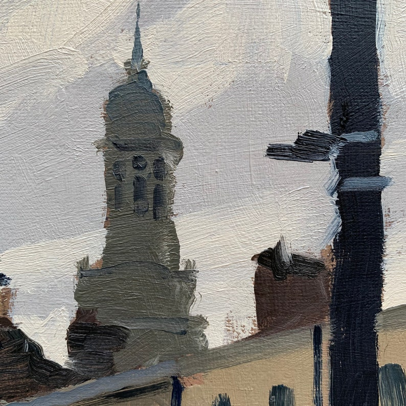 Greenwich Town Centre ~ Original 12x12 landscape oil painting by Elliot Roworth