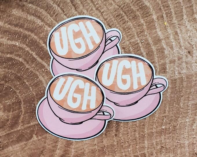 Ugh Coffee Sticker   Latte Cappuccino   Mug Cup & Saucer Sticker   Pink