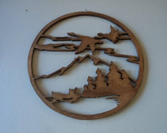 Wooden Landscape Wall Hanging