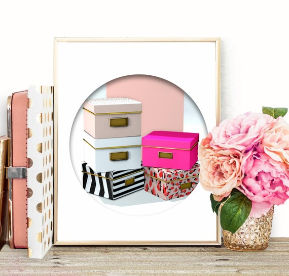 Chic Wall Art Kate Spade Storage Boxes Pink Office Decor | Etsy