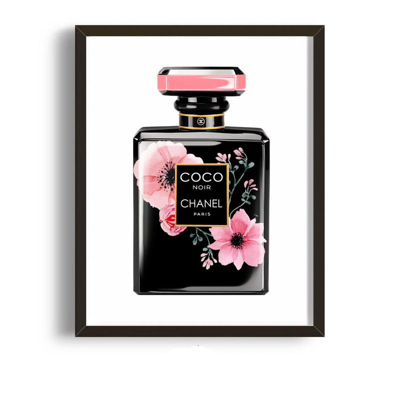 photo about Chanel Printable named Coco Chanel Bottle Print Coco Chanel Poster Chanel Printable Artwork Affiche Chanel, Watercolor Bouquets Residence Place of work Decor Fragrance Bottle Poster