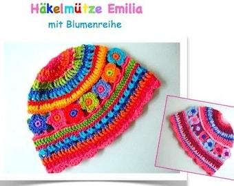 ebook/instructions for a colorful crochet cap Emilia