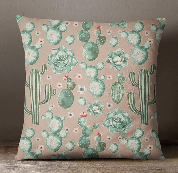 Cactus Printed Dusty Brown Pillow Case