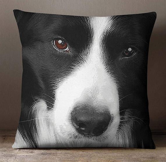 Square Cushion Cover ISUB-SAS349A Canvas Cushion Cover Satin Pillow Case Black /& White Border Collie Dog Face Digital Print Pillow Case