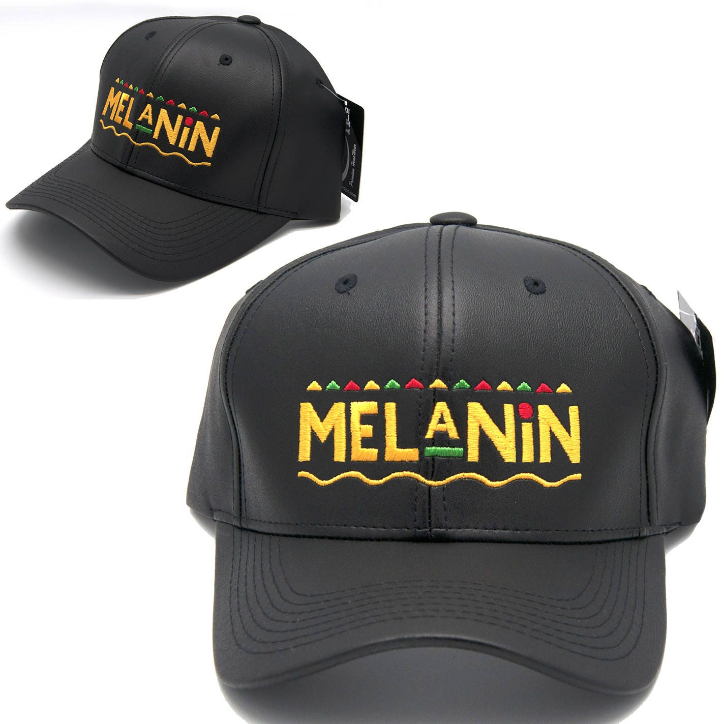 f2226300823 Melanin leather dad hat Gold