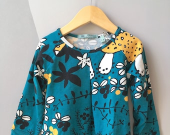 Baby dress in jersey animal print green and yellow mushrooms