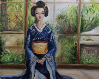 Kyoto Geisha smile Japanese traditional dressed woman portrait Original painting Figurative Art Unique Gift      Garden Window Home decor