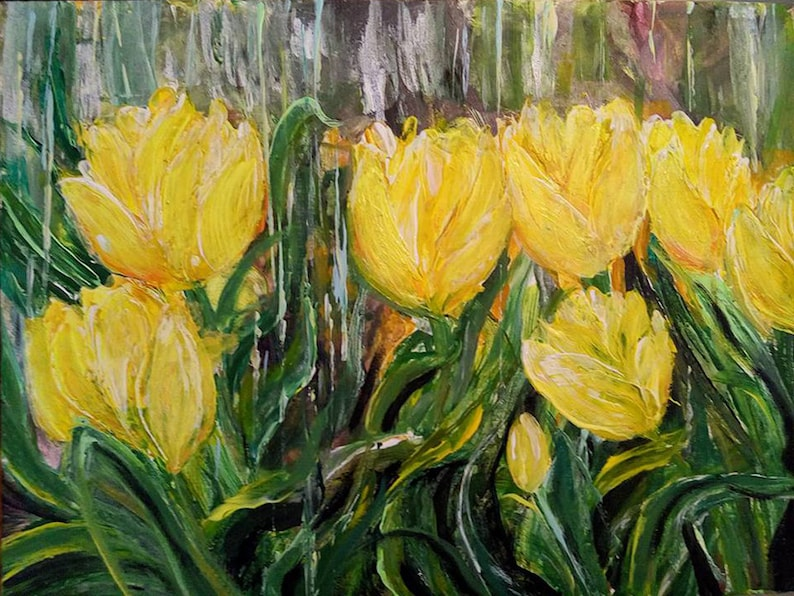 Yellow Tulips Under The Rain Modern Painting Living Room Art