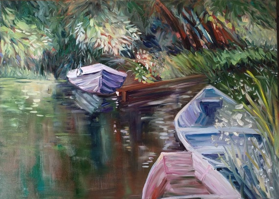 Sunny Day Boats Modern Impressionism Living Room Decor Contemporary Art Unique Gift Cabinet Decor Summer River Landscape Best Gift For Her