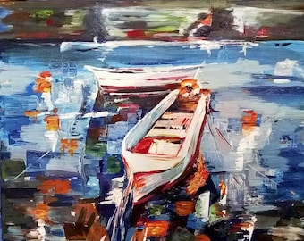 Boats 40x50 cm 2016 Acrylic painting on cotton canvas (copy) Impressionistic style seascape Waterscape in interior Boy's room decor Wall Art
