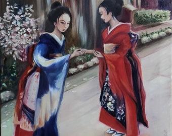 When the Sakura blooms Japanese Girls on the street Original figurative painting Kimono Dressed Woman Oriental Spring Romantic View Wall Art