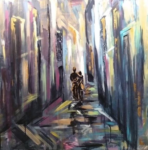 Original Contemporary Art Couple In Love Abstract Urban Fantasy Lights Of Night City Romantic Story Unique Gift Teens Room Decor Modern Art
