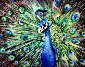 Bluebird Peacock painting Colorful Art Kid's Room Decor Original Acrylic Artwork Lucky Bird Wall Art Decor Unique Gift Bright Color Blue Art