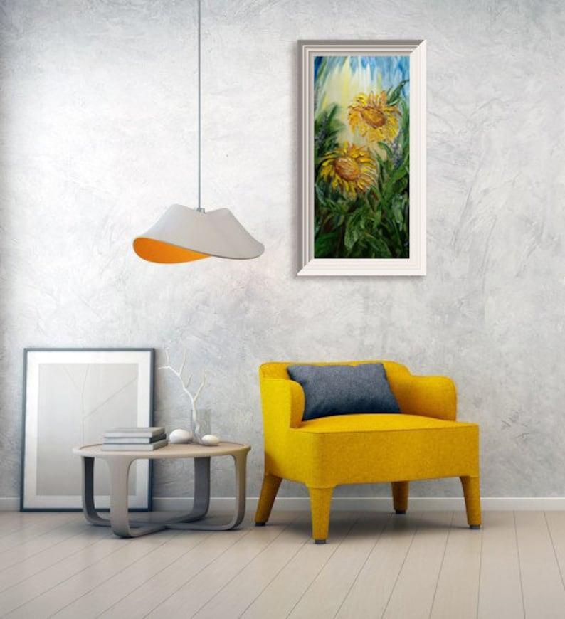 sunflowers living room decor modern texture original