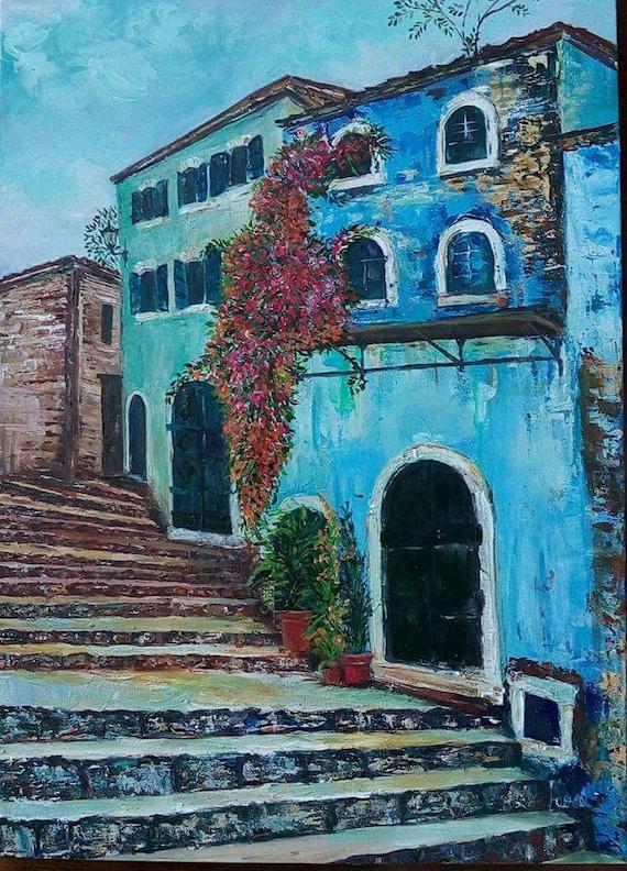 Griechisches Dorf Wohnzimmer Dekor Original Gemälde Moderne