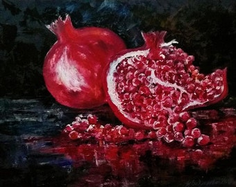 Pomegranates Living Room Decor New Year Gift Modern Wall Art Bright Colors Red Black Oil painting  Home Wealth Unique Gift Dining Room Art