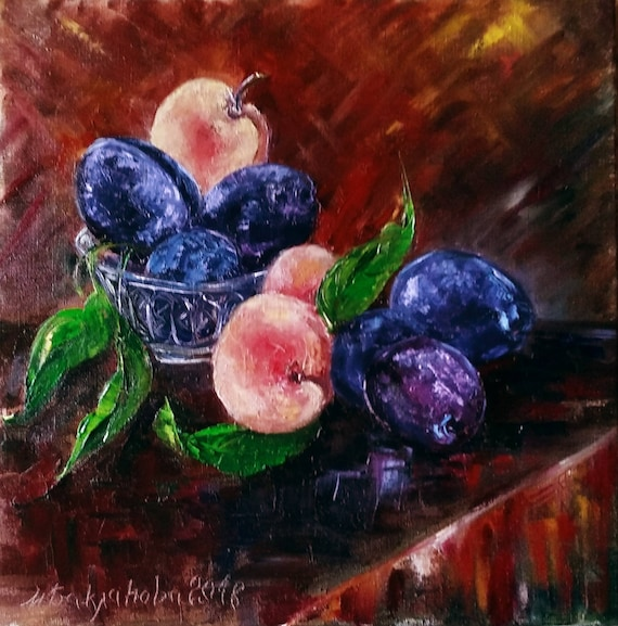 Marvelous Plums And Peaches Modern Original Oil Art Feng Shui Gift Oil Still Life Dining Room Decor Gift For Her Cafe Interior Wallart Unique Present Download Free Architecture Designs Xerocsunscenecom