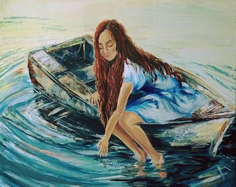 Romantic Wall Art A Girl in the boat Living Room Decor Unique Gift Waterscape Colorful Original Acrylic Art Teen's Room Art Meditative Calm