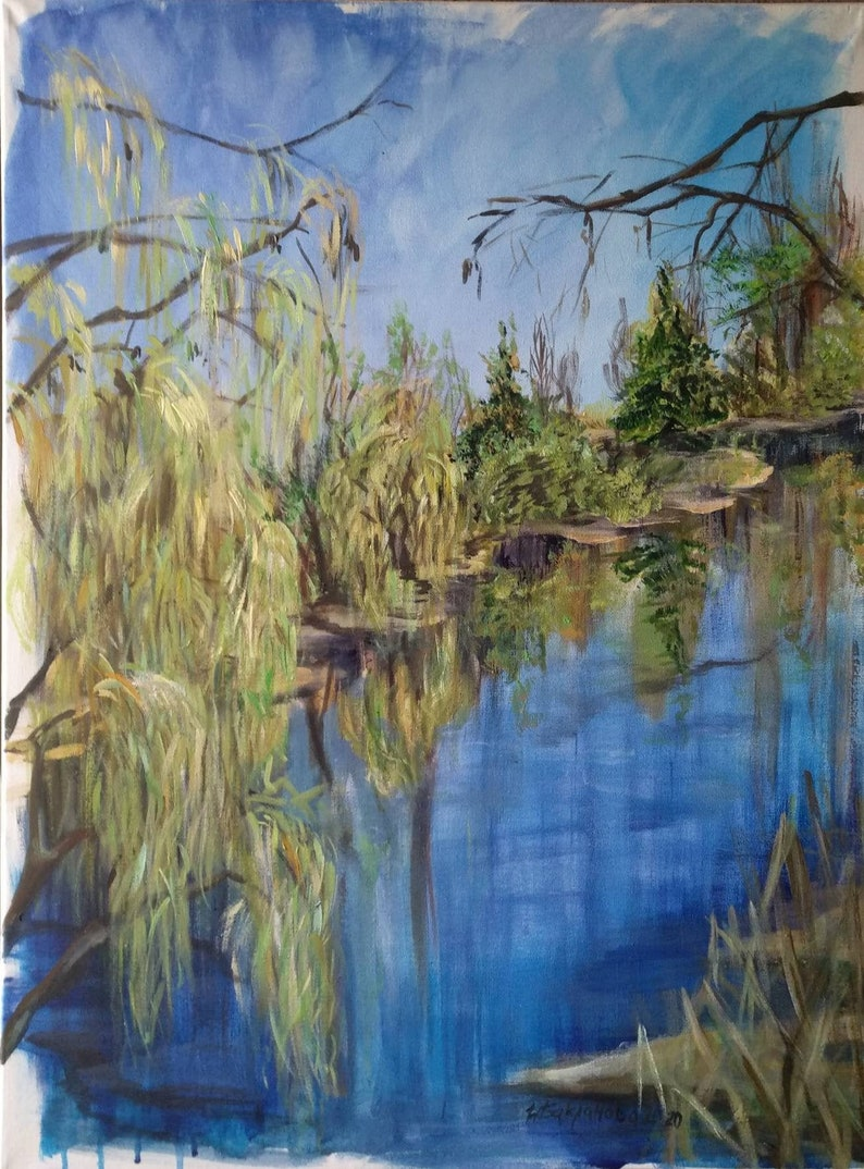 A Spring Pond Original Painting Waterscape Contemporary Wall image 0