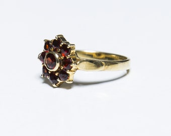 Size 7 U.S.A Heirloom Ring Ship Free Statement Ring 10/% Off Everything Sale Vintage Art Deco STERLING ACI Ruby Red GARNET Ring