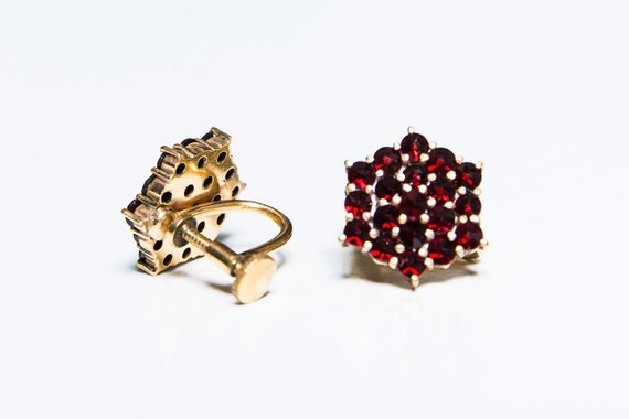 Antique Bohemian Gold Over 830 Silver Garnet Ring Victorian Style Heirloom