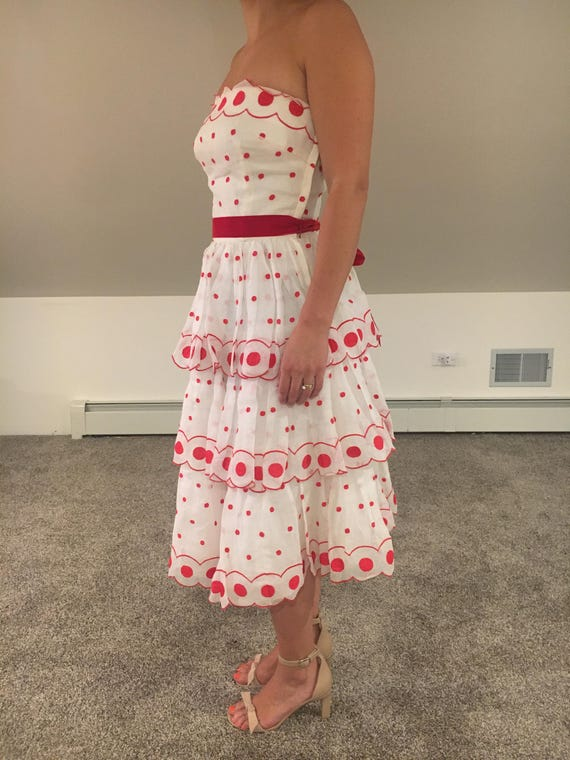 1950s Red and white polka dot dress