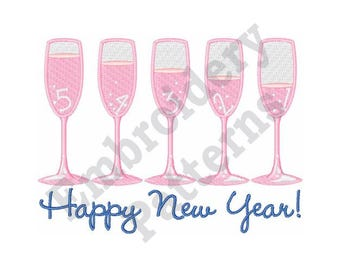 happy new year champagne wishes machine embroidery design 5 x 7 hoop stemware champagne toast border machine embroidery designs