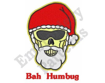 914602ac93130 Skull With Santa Hat Bah Humbug - Machine Embroidery Design - 5 X 7 Hoop
