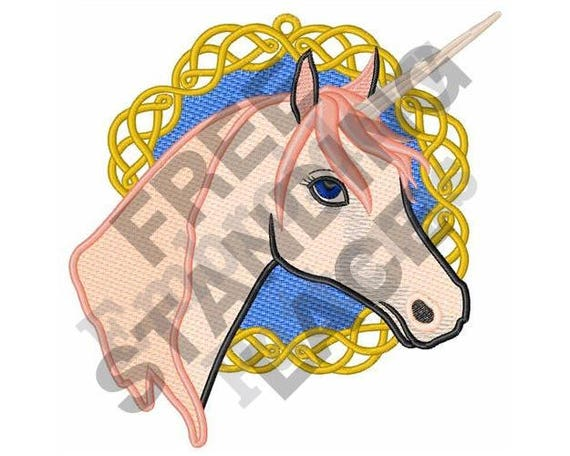 Unicorn Machine Embroidery Design 5 X 7 Hoop Fsl Etsy
