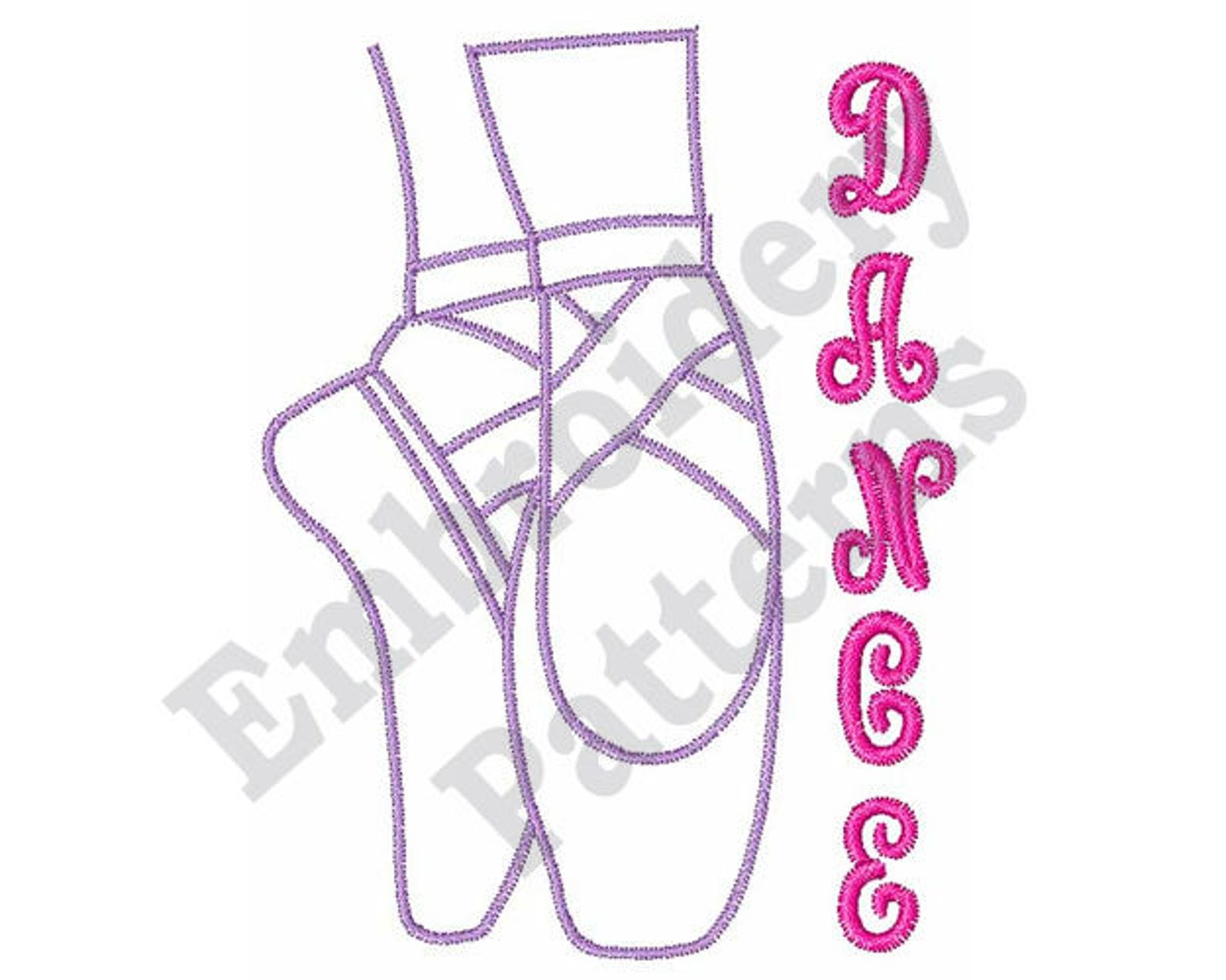 dance lettering - machine embroidery design, pointe embroidery, ballet embroidery
