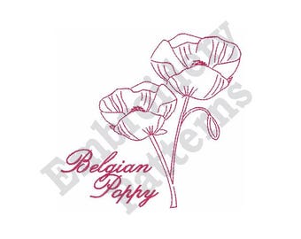 "Belgian Poppy - Machine Embroidery Design - 4 X 4 Hoop, Redwork Motif, Floral, Sayings, ""Flanders Field"", Flower, Floral"