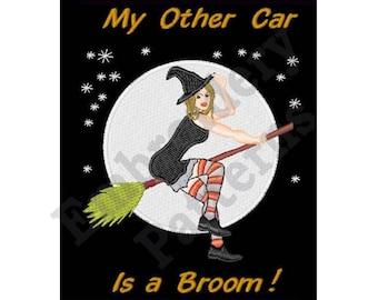 My Other Car Is A Broom - Machine Embroidery Design - 5 X 7 Hoop, Crone, Woman, Hag, Fly, Broom, Halloween, Sayings, Humorous