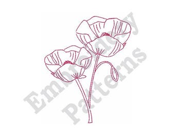 "Poppy Outline - Machine Embroidery Design - 4 X 4 Hoop, Redwork Motif, Floral, ""Flanders Field"", Flower, Floral"