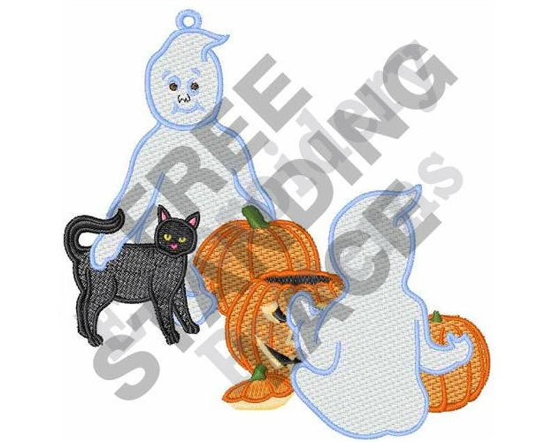 Stand Alone Embroidery Designs : Halloween ghosts machine embroidery design hoop fsl etsy