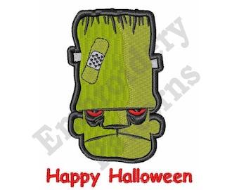 Happy Halloween - Machine Embroidery Design - 4 X 4 Hoop, Halloween, Sayings, Frankenstein, Monster