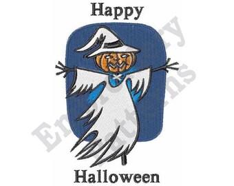 Happy Halloween - Machine Embroidery Design - 5 X 7 Hoop, Halloween, Sayings, Scarecrow