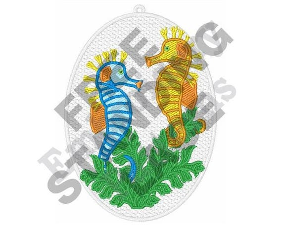 Stand Alone Embroidery Designs : Seahorses machine embroidery design hoop ornament etsy