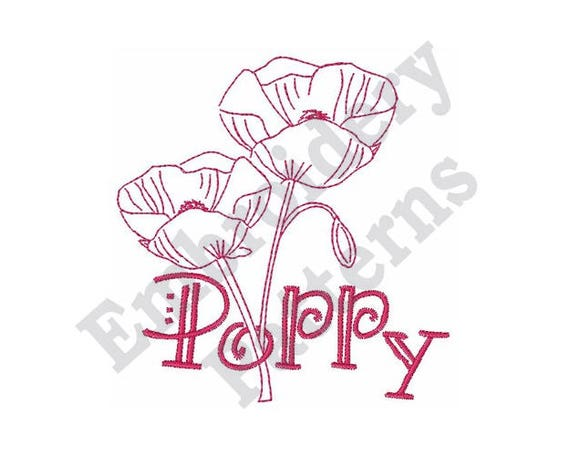 Poppy Flowers Outline Machine Embroidery Design 4 X 4 Etsy