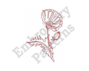 "Redwork Poppy - Machine Embroidery Design - 4 X 4 Hoop, Redwork Motif, Floral, ""Flanders Field"", Flower, Floral"
