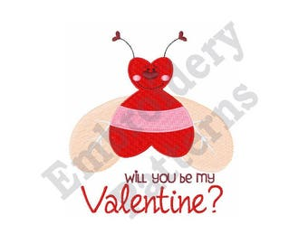 Be My Valentine - Machine Embroidery Design, Love Bug Embroidery, Valentines Embroidery