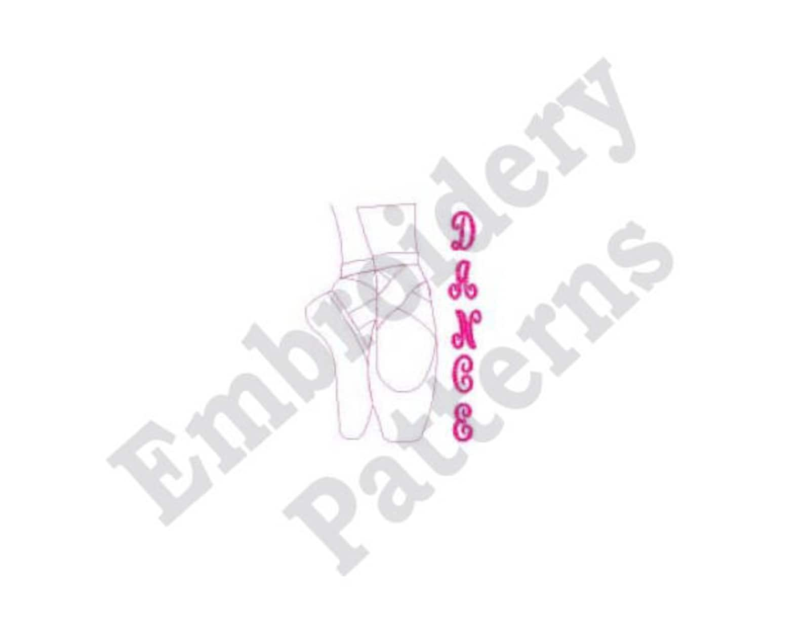 toe shoes outline - machine embroidery design, ballet dancer embroidery