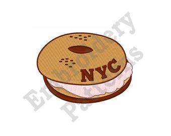 NYC Bagel & Cream Cheese - Machine Embroidery Design