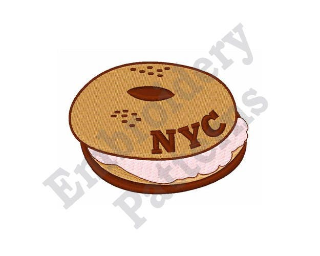 Nyc Bagel Cream Cheese Machine Embroidery Design Etsy