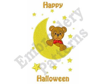 Happy Halloween - Machine Embroidery Design - 5 X 7 Hoop, Halloween, Sayings, Teddy Bear, Crescent Moon