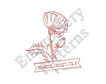 "Belgium - Machine Embroidery Design  - 4 X 4 Hoop, Redwork Motif, Floral, Sayings, ""Flanders Field"", Flower, Floral, Lettering, Outline"