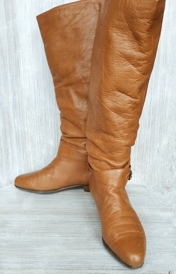 Knee high boots Leather brown tall boots Vintage l