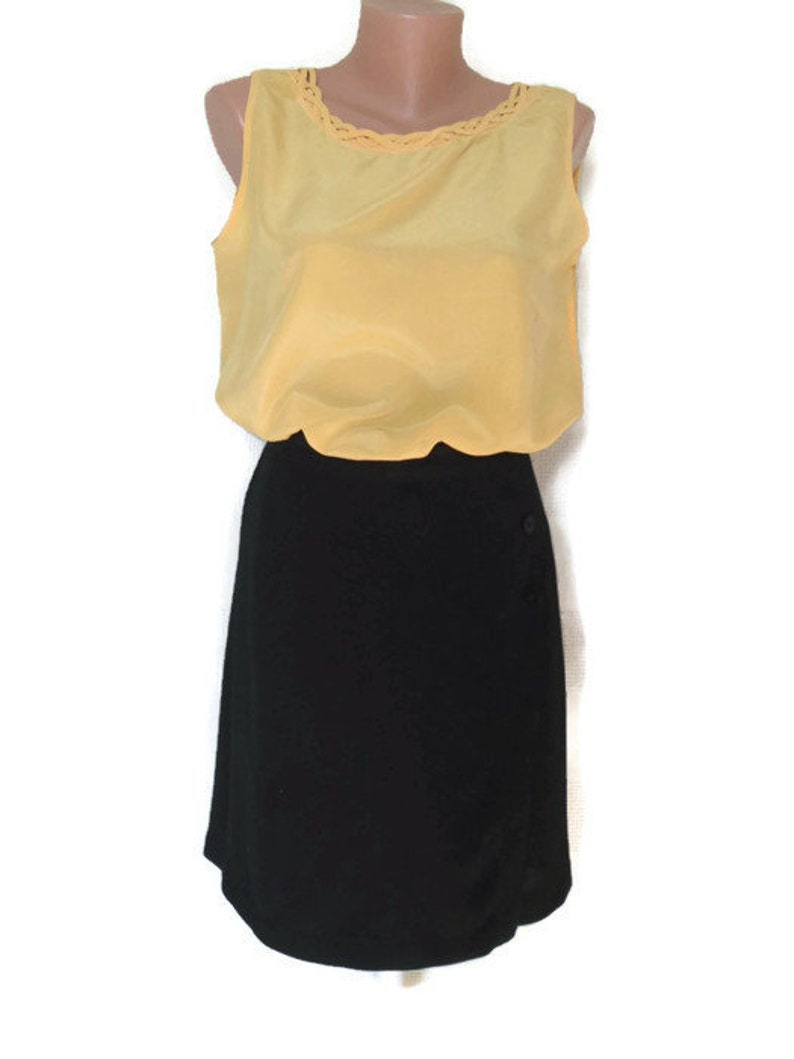 Organic silk blouse Simple shirt top minimalist style 90s size L Vintage 90s yellow pure silk blouse top
