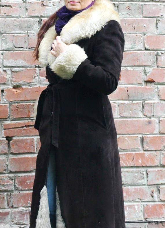 Coffee brown sheepskin coat Sheepskin trench Women