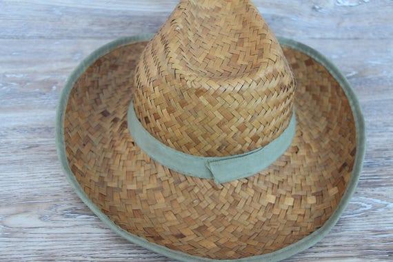 Vintage straw hat men Straw beach hat Natural str… - image 6