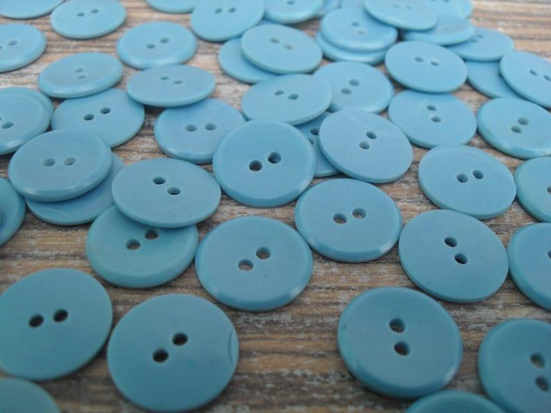 60 Light blue buttons Bulk blue buttons Vintage plastic buttons Flat back buttons Sewing buttons Button lots